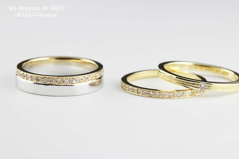 マリッジリングの2本使い les desseins de DIEU -Bridal Collection-
