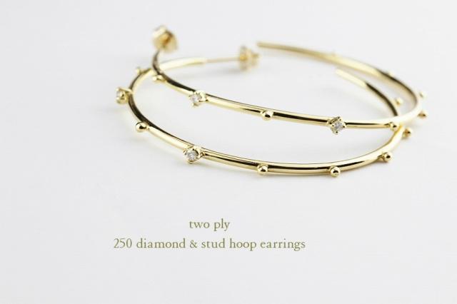 two ply250 diamond&stud hoop earrings