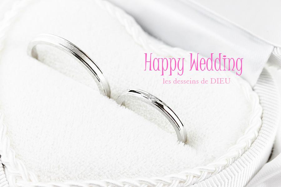 """~otemoto~marriage ring W様ご夫婦のマリッジリング プラチナでご用意致しました。 """"Down The Aisle"""" Series  WR-1H 1.85L-PT-D DIA&WR-1H 2.3M-PT-D"""