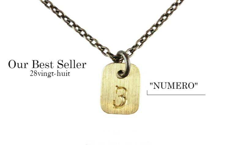 """メンズベストセラー: カスタムオーダーのナンバーネックレス 28vingt-huit """"Numero""""  ~18金イエローゴールドトップ × シルバー~"""
