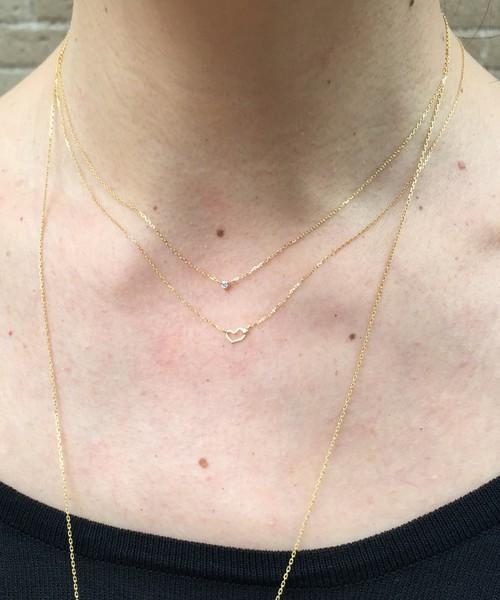 極小 一粒ダイヤモンド ネックレス 重ね付け コーディネート ピナコテーカ アクセサリー 人気ブランド 18金