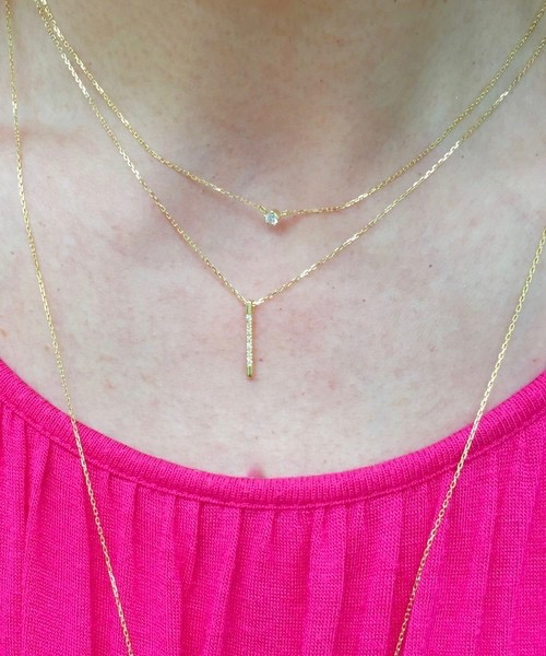 ライン ダイヤモンド ネックレス 重ね付け 一粒ダイヤモンド 人気スキンジュエリーブランド 18金