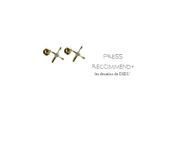 PRESS RECOMMEND+ Volume8. スキンジュエリーならではの華奢さがたまらないクロスピアス ~アクセントダイヤモンドクロスピアス~ pinacoteca553 Accent Diamond Cross Earrings