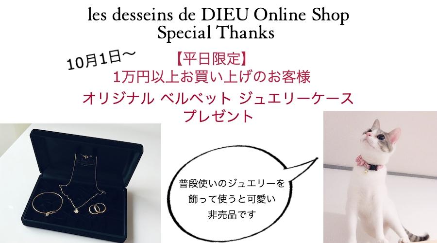 1万円以上お買い上げでオリジナルジュエリーケースプレゼント